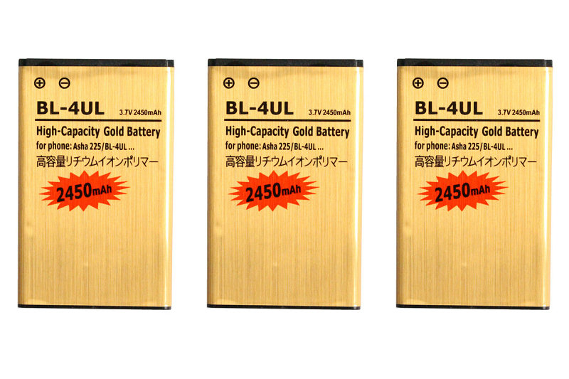 Seasonye 3pcs/lot 2450mAh <font><b>BL</b></font>-4UL / <font><b>BL</b></font> 4UL / BL4UL Gold Replacement Li-ion Battery For Nokia Asha <font><b>225</b></font> Asha225 + Tracking Code image