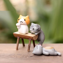 6 Pcs Mini Cute Cats Bonsai Decor Resin Crafts Cartoon Cat Crafts Miniatures garden Decor Accessory Home Bonsai Oranment