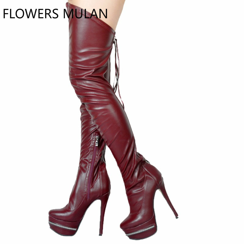 women over the knee boots european style lady sexy thin high heel 12cm round toe leather shoe winter fashion platform boot 35-44 стоимость