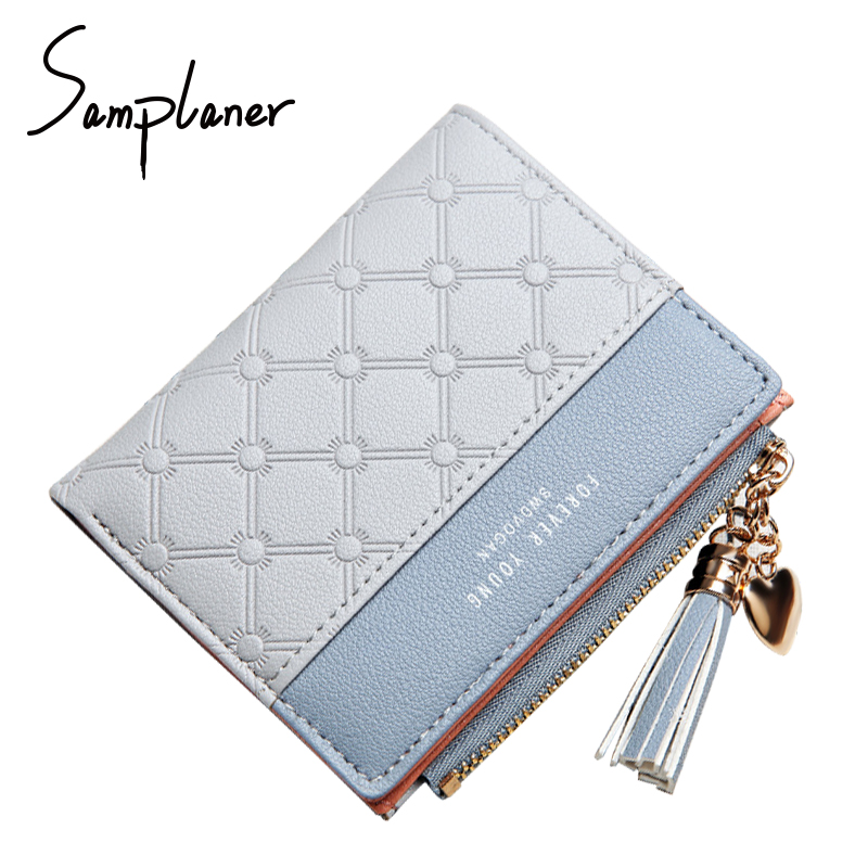 New Arrival Zipper Tassel Short Women's Wallets Patchwork Leather Trifold Slim Lady Wallet Clutch Small Plaid Women Coin Purses simline fashion genuine leather real cowhide women lady short slim wallet wallets purse card holder zipper coin pocket ladies