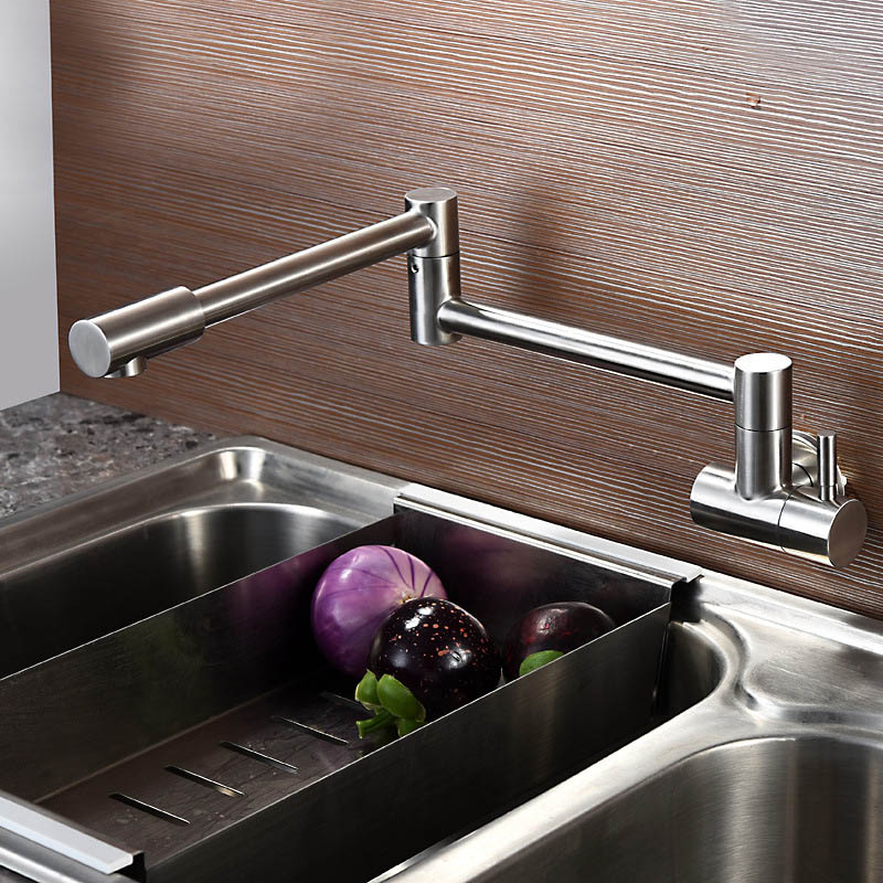 Free Shipping Lead Free Pot Filler Faucet Swing Spout Wall Mount SUS 304 Stainless Steel Polished Brushed Nickel Quality Faucet