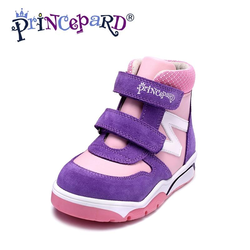 Princepard Autumn Winter Girls Boys Orthopedic Leather Shoes for kids baby orthopedic shoes velvet and fur lining senakers