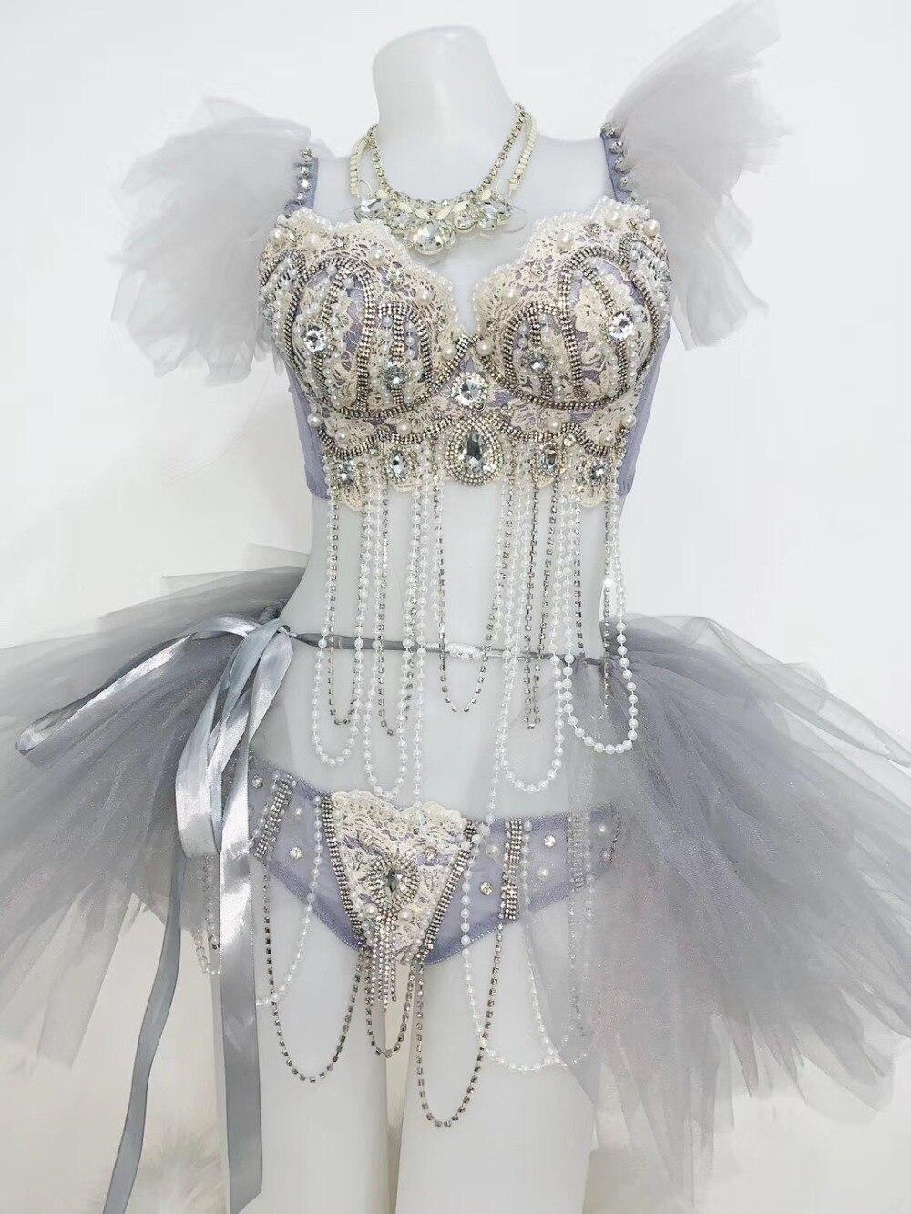 Cristaux lumineux perles broderie soutien-gorge jupe courte Tutu tenue discothèque chanteur spectacle Bikini femmes fête d'anniversaire ensemble