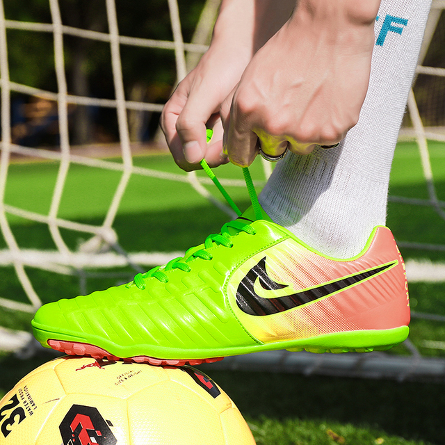 fcb6c8fd412 Men Soccer Shoes Sport Ronaldo Breathable Women Spikes Professional Kids  Boys Superfly VI Elite CR7 TF Turf Football Sneakers