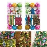 52Pcs Interesting Christmas Tree Hanging Ornaments Set Plastic Baubles Ball Pinecone Decoration Kit Hogard ST03
