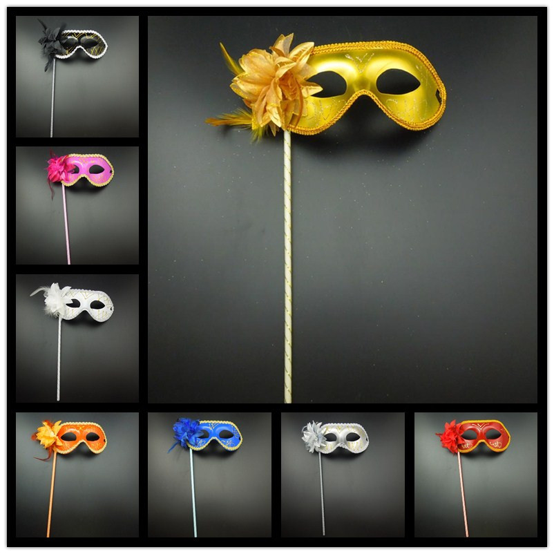 Gold Lace Party Masks Stick flower side Venetian masquerade masks woman man mardi gras costume prom mix color - Caly Tao's store