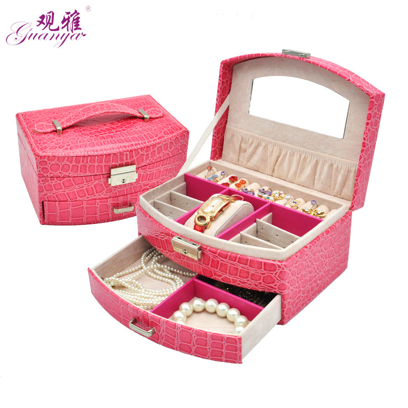 Super Fashion Gift Crocodile Style Jewelry Cosmetic Box Ring Earring Watch Box Jewel Organizer For Wedding Gift,Festival Gift festival gift simulation rose soap flowers with gift box