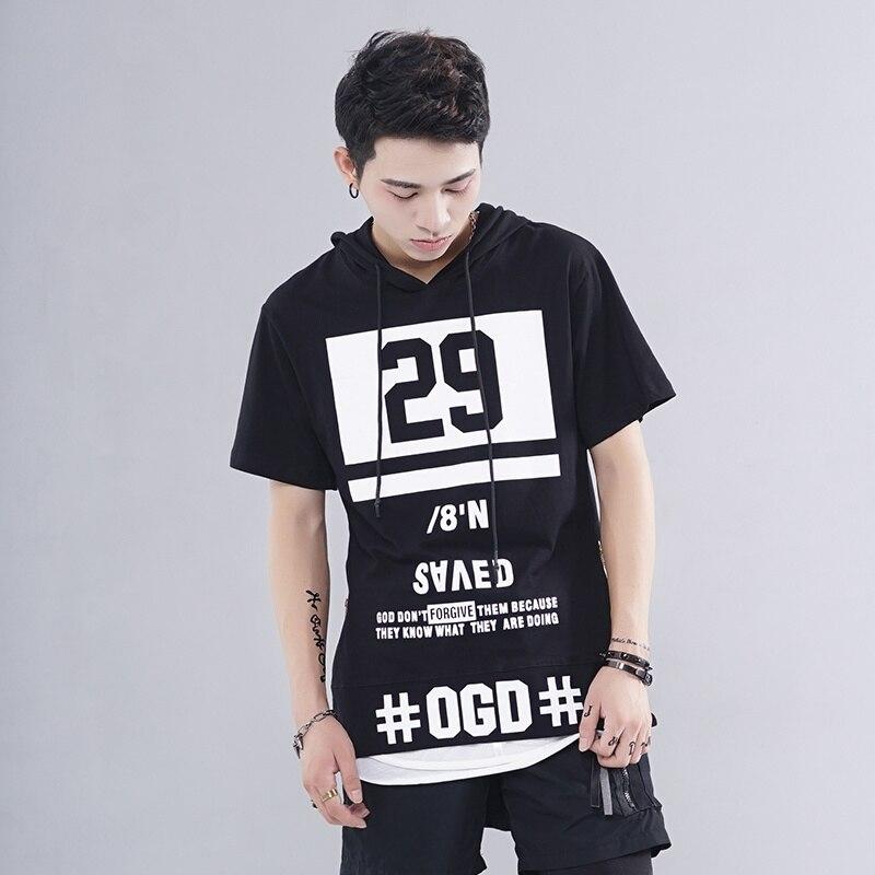 Oversize Lengthen Hoody T-shirt Zipper 29 Print Longline Tshirt Gothic Hip Hop Streetwea ...