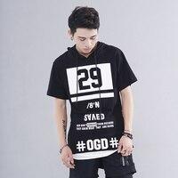 Oversize Lengthen Hoody T Shirt Zipper 29 Print Longline Tshirt Gothic Hip Hop Streetwear T Shirt