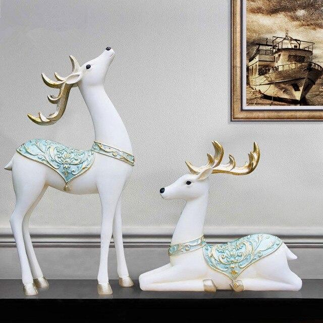 resin animal christmas elk ornaments creative white deer figurine home soft ornaments  christmas deer decoration display - Resin Animal Christmas Elk Ornaments Creative White Deer Figurine
