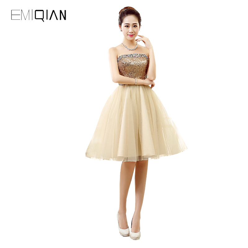 Original Design A Line Strapless Sequined Khaki Tulle   Cocktail     Dresses