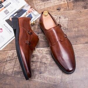 Image 2 - Zimnie ブランド男性クラシックバックル厚い底ドレスシューズ男性ハンドメイドの高級フォーマルビジネスオフィス靴革の靴