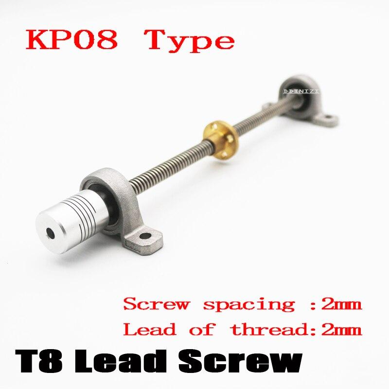 Impressora 3d cnc T8-300mm parafuso de ligação conjunto kp08 eixo acoplamento rosca 8mm t8 lead1mm rod thsl haste