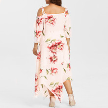 4e6efed98963 NEW Fashion summer dress women Off Shoulder Plus Size Lace Up Maxi Flowing  Floral Print Dress