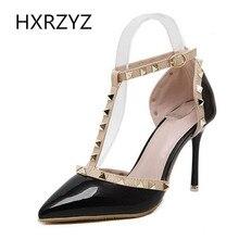 Brand HXRZYZ spring/summer sexy T-Strap Ankle thin heel pumps fashion Rivet 9cm super high heels black white women leather shoes