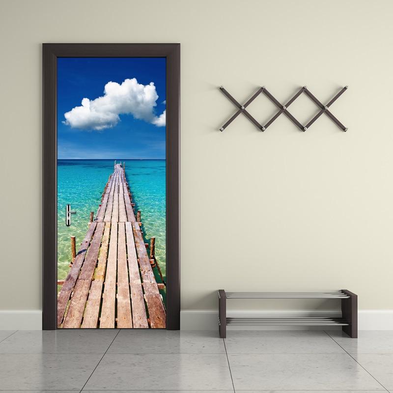 PVC Waterproof 3D Wallpaper Sticker Sea View New DIY Door Mural Modern Simple Bedroom Living Room Door Poster Murals Home Decor v8 sea view ex view talay marina beach 3 паттайя