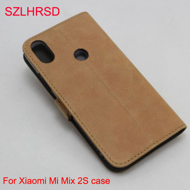 SZLHRSD pour Xiao mi mi mi x 2 S étui, 100% coque arrière en cuir véritable pour Xiao mi mi mi x 2 S Protection d'écran