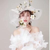Big Hat Studio Wedding Hair Accessories Woman Flower Mesh Lace Headwear