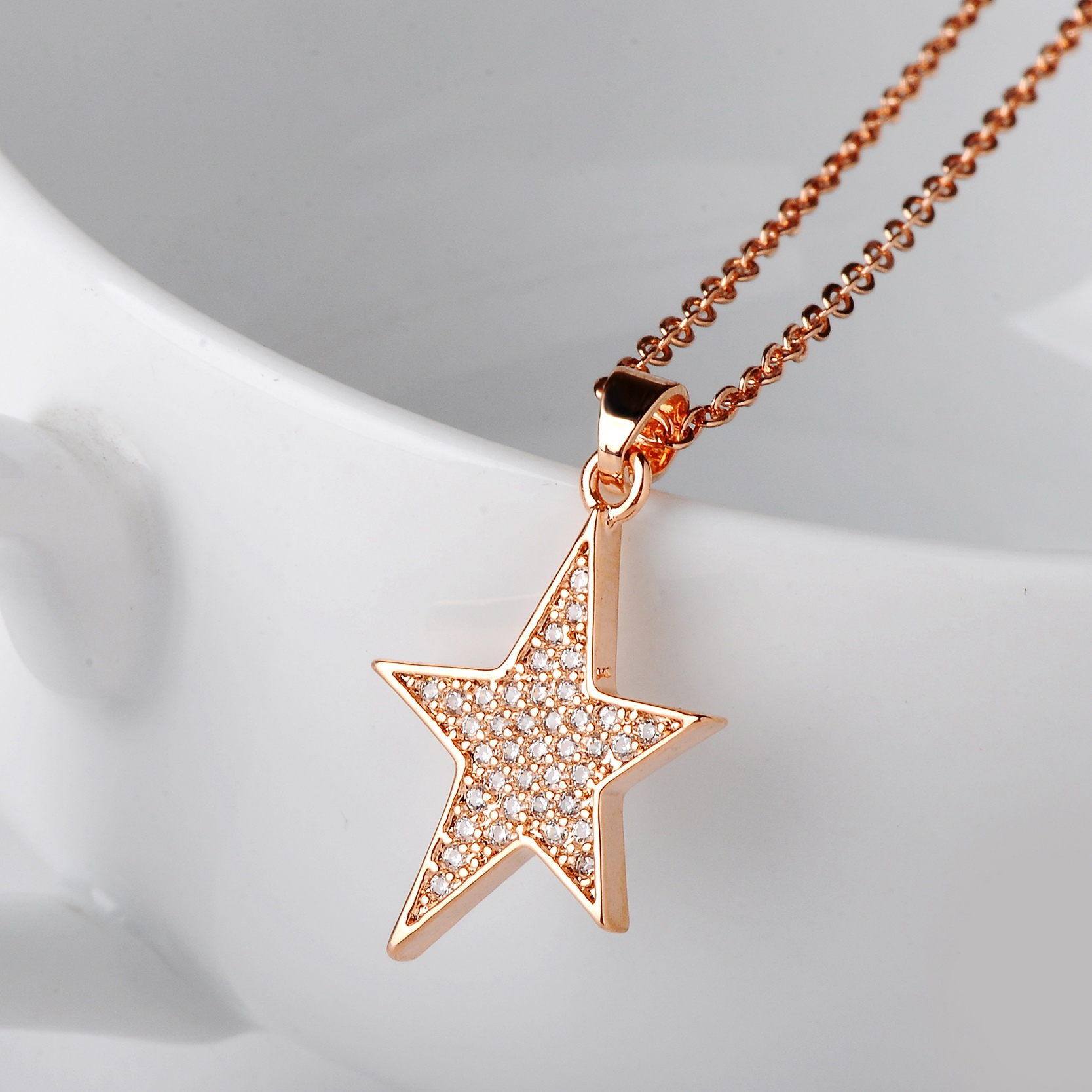 Drole 2017 new arrival rose gold silver star shaped pendant drole 2017 new arrival rose gold silver star shaped pendant necklace for women zircon choker valentines day gift in pendant necklaces from jewelry mozeypictures Image collections