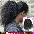 100% Бразильский Клип В Человека Хвостик Наращивание Волос Кудрявый Вьющиеся Шнурок хвост афро пуфы Девы вьющиеся ponytails 80 ~ 140 г