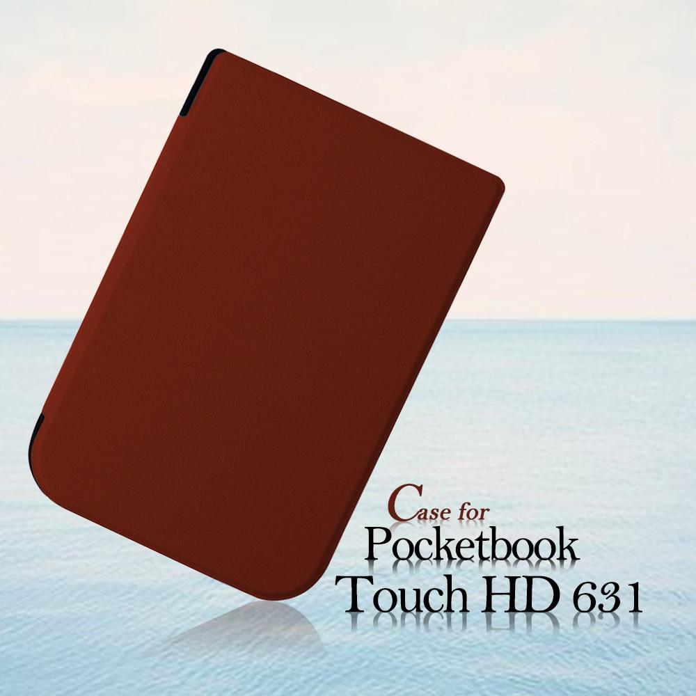 Caso de la cubierta para 2016 Pocketbook Touch HD 631 6 pulgadas eReader PU + film protector + stylus pen como regalos libres
