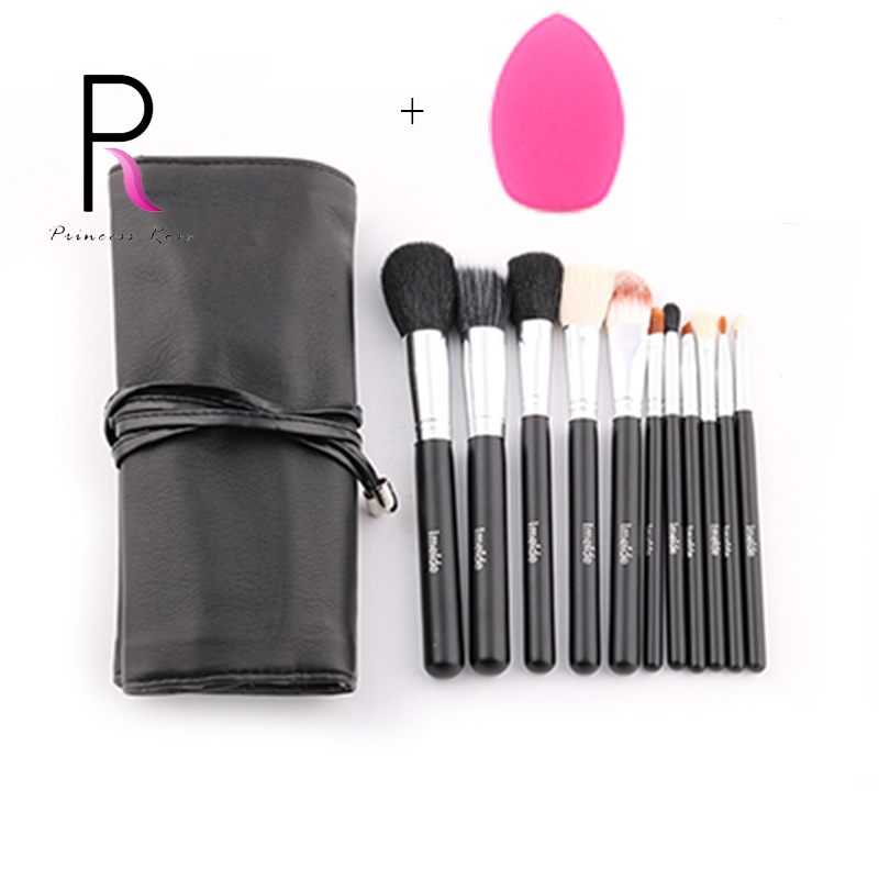 Princess Rose 11pcs Goat Horse Hair Make Up Brush Makeup Brushes Set with Bag & Sponge Puff Pincel Maquiagem Pinceis PR11B princess pr 1300