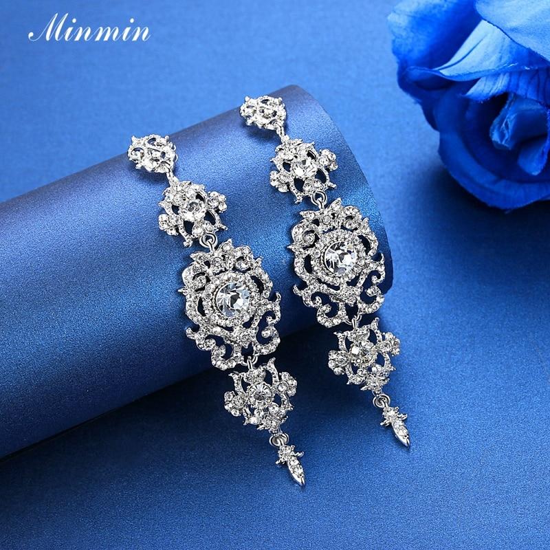 Minmin kolor srebrny Kryształowy żyrandol Ślubne długie kolczyki - Modna biżuteria - Zdjęcie 5