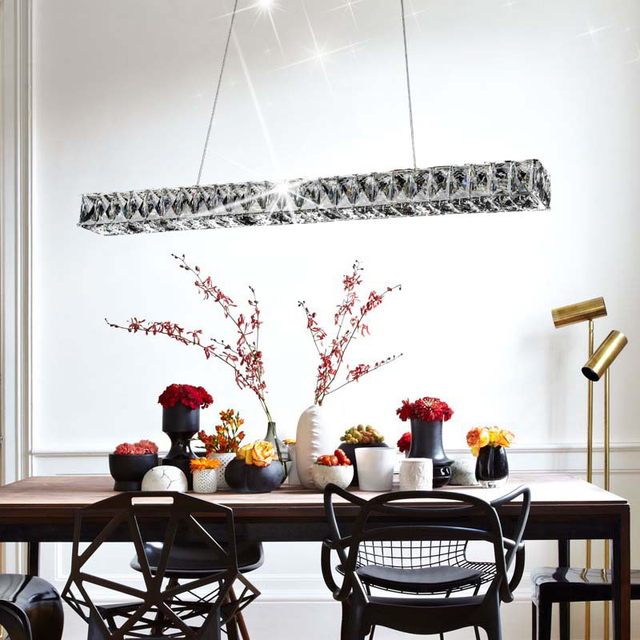 Modern Restaurant LED Pendant Lamp Crystal Lamp AC85-265V Dining Room Pendant Lights Lighting Fixture LED Crystal Lights