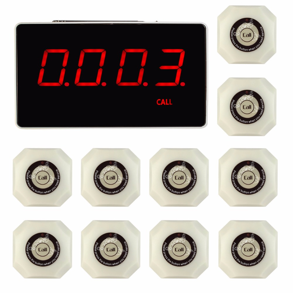 433.92MHz Restaurant Wireless Calling System with Voice Report Receiver Host +10pcs White Call Button Pager F3293B wireless pager system 433 92mhz wireless restaurant table buzzer with monitor and watch receiver 3 display 42 call button
