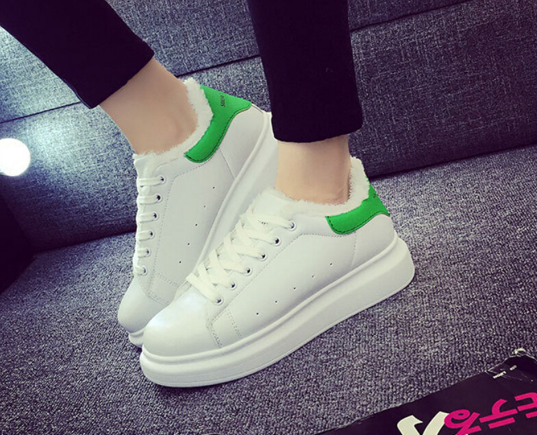 The new winter white shoe warm cotton shoes add thick pile font b bottom b font