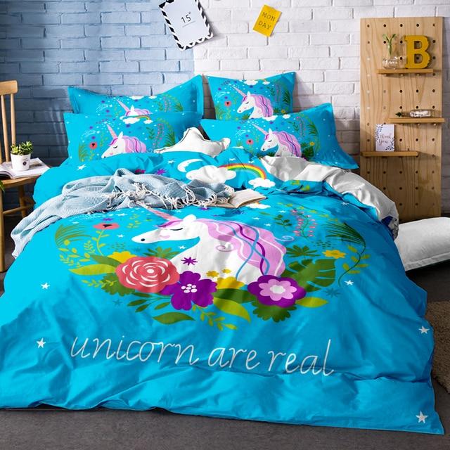 0b513db7ac6e Cute Unicorn Bedding Set Cartoon Duvet Cover Twin Full Queen King Size 3PCS  Bedclothes
