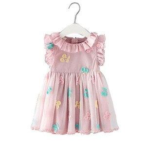 Image 5 - Dziewczynek sukienka 100% bawełna Cherry haft bufiaste rękawy koronki niemowlę noworodka piłka dla niemowląt suknia wieczorowa 0 2Y