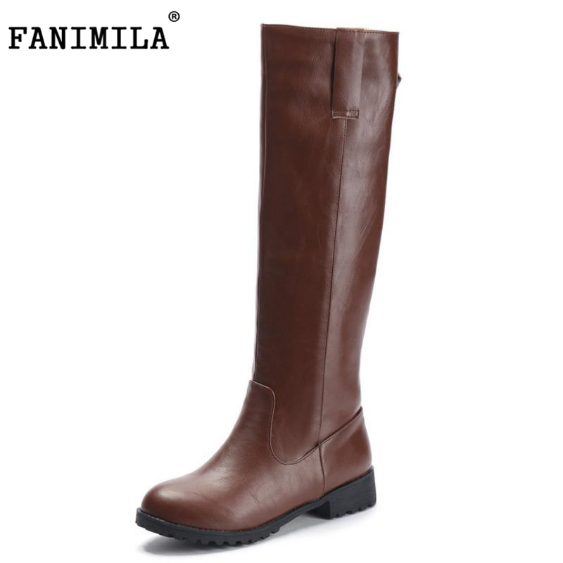 FANIMILA size 33-43 women flat over knee boots woman riding long boot snow warm winter botas brand footwear shoes P20194 free shipping over knee wedge boots women snow fashion winter warm footwear shoes boot p15323 eur size 34 39
