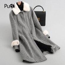PUDI A68251 Real wool parka coat jacket overcoat women's winter mink fur collar lamb fur warm coat 2018 fall winter coat