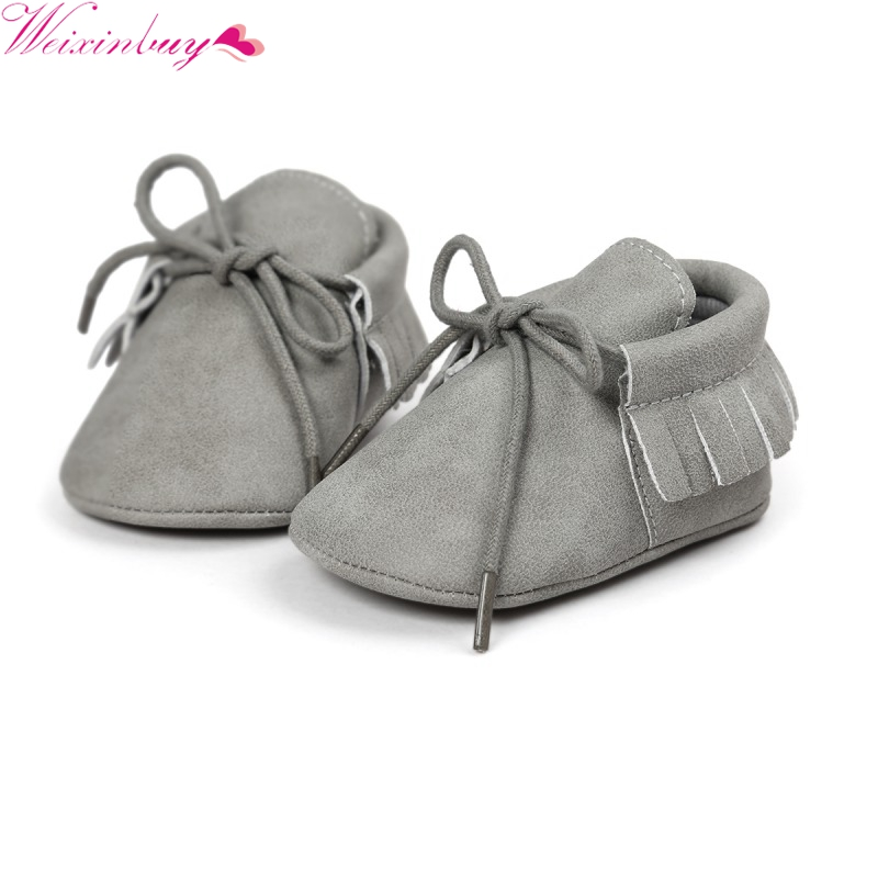 Classic Toddler Leisure Infant PU Leather Prewalker Soft Soled Baby Shoes