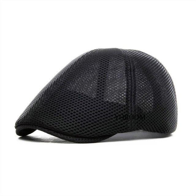 9d32da4d264 VOBOOM Summer Black Flat Cap Men Women Breathable Newsboy Caps 6 Panel  Lightweight Driver Beret Hat Baker Boina 125
