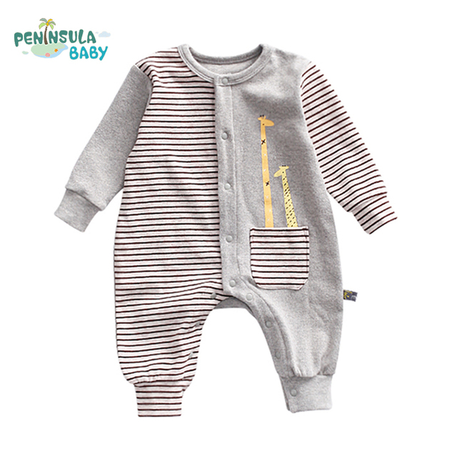 803bfb606 Cute Kids Clothing Infant Jumpsuit Giraffes Cartoon Striped Long Sleeve Baby  Rompers Body Suit Product Boy Girl Clothes Jumpsuit