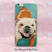 Pet portrait bulldog portrait custom dog hard transparent clear Cover Case for Apple iPhone SE 4 4s 5 5s 5c 6 6s Plus