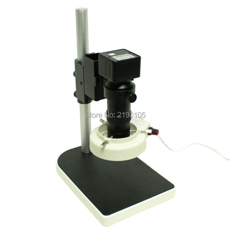 2.0MP industrie microscope numerique camera USB video sortie + 8X-130X C - mount Lens + 56 LED Light ring + support reglable free shipping hd industry microscope camera 2 0mp vga usb cvbs av tv outputs 8x 130x c mount lens
