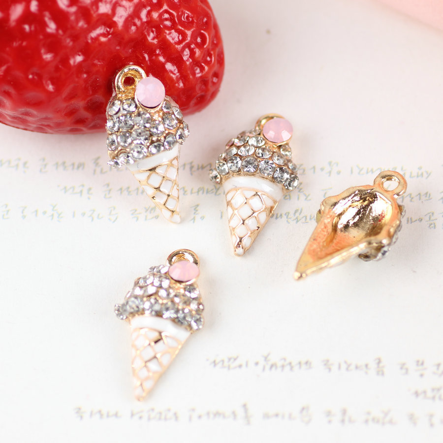Wholesale New Arrival 12*21MM Fruit Ice Cream Rhinestones Oil Drop Alloy Jewelry Charms Gold Tone Enamel Bracelet Pendant Charm