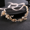 Bridal wedding headband pearl crystal alloy shell bridal headdress romantic ribbon hair ornaments gold silver wedding jewelry