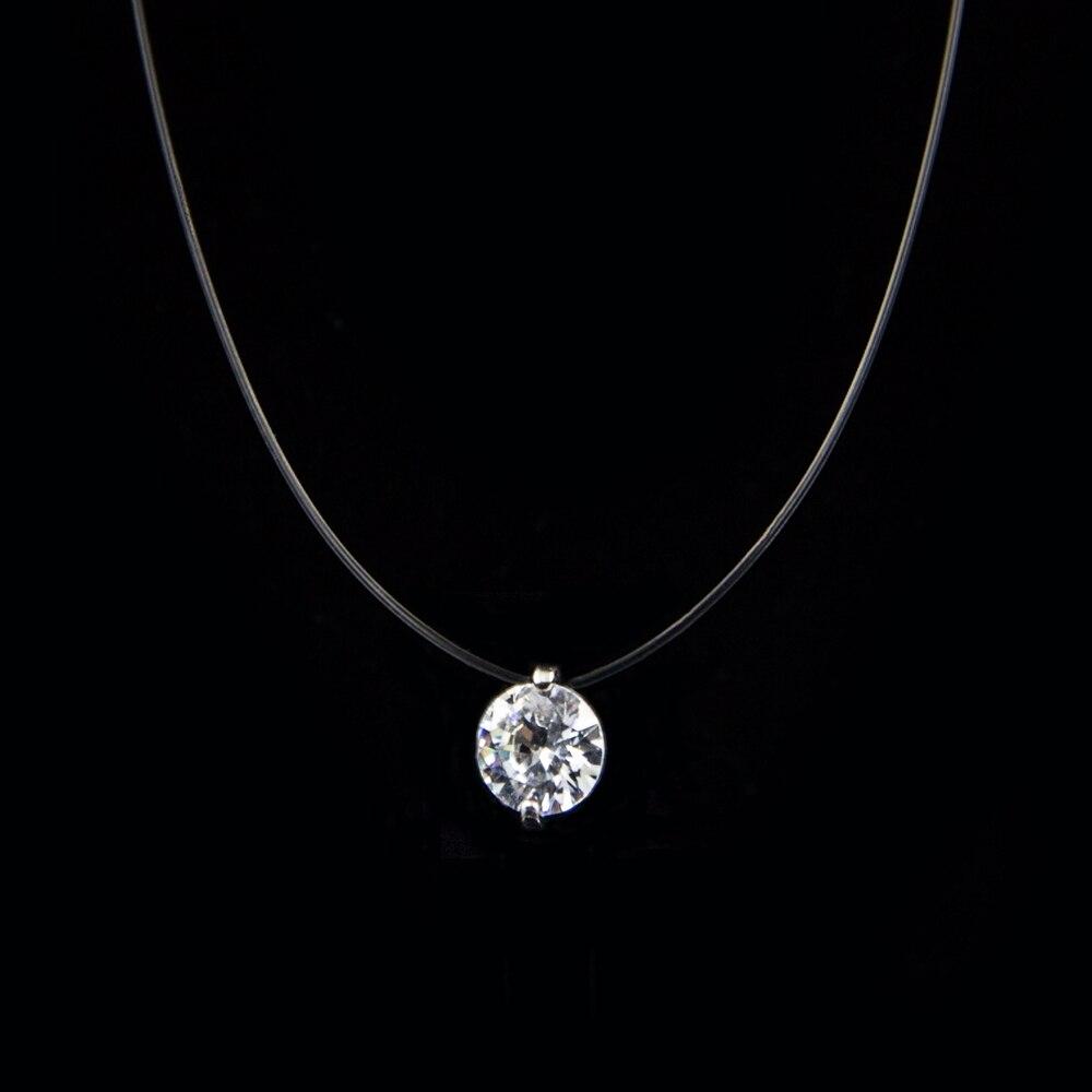 Collar de línea de pesca transparente para mujer, collar de cadena Invisible de plata, collar de gargantilla de diamantes de imitación para mujer