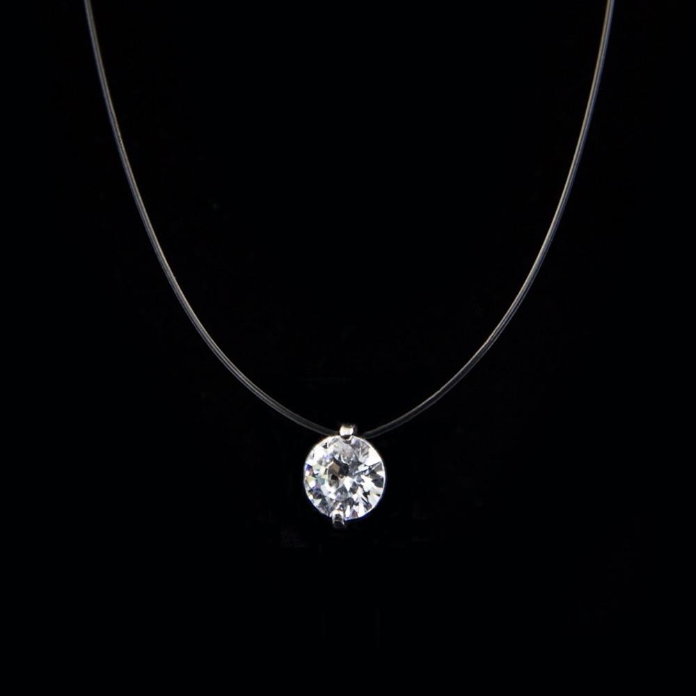 Ожерелье женское Poputton, искусственный бриллиант на прозрачной леске