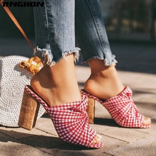 TINGHON NEW Red checked cloth Gladiator Summer Fashion Ladies Slipper Shallow Square Hight Heel Women Shoes Wear Outside