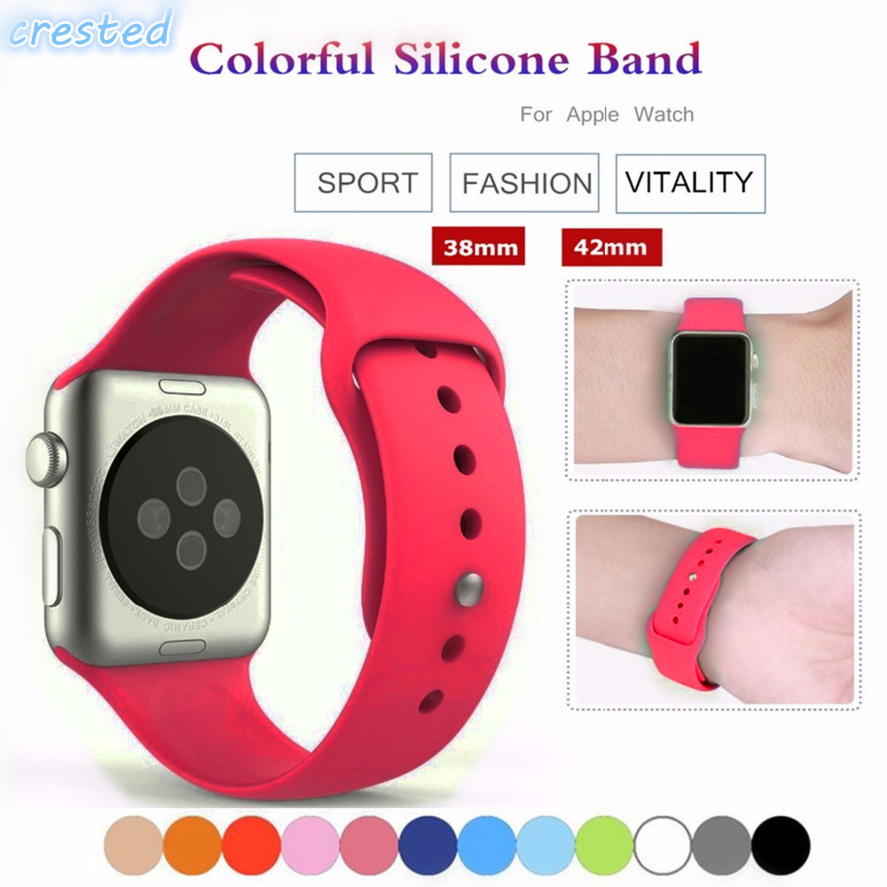 Sport Silicone strap For Apple Watch band 42mm/38mm Iwatch 3/2/1 bracelet Wrist Replacement Rubber watchband with metal Buckle large small size sport silicone replacement watch wrist strap bands for samsung gear fit 2 r360 watch band conjoined watch band