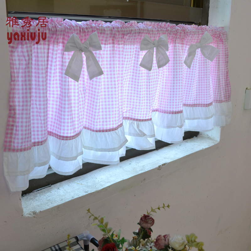 Aliexpress Buy Free Shipping Pink Plaid Bow Beautiful Coffee Curtain Semi Shade Small Short Kitchen Curtains 40150CM Customized From Reliable