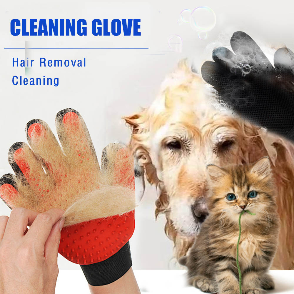 New Style Silicone Pet Grooming Cleaning Glove Deshedding left/Right Handed Dog Cat Hair Removal Brush Humanized Palm Design 18