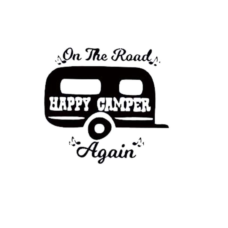 New Style For On The Road Again Camping Car Window Sticker Camper Decal Cute Funny Car Styling Vinyl Decal Jdm alice in wonderland wall decal quote cheshire sayings we re all mad here vinyl decal for macbooks laptops car windows etc
