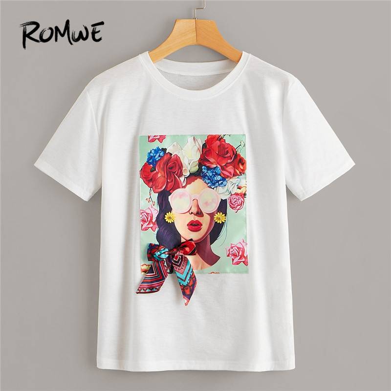 ROMWE White Fashion Floral And Figure Print Bowknot Detail Women Summer Tops Tees 2019 Classic O Neck Short Sleeve <font><b>T</b></font> <font><b>Shirts</b></font> image