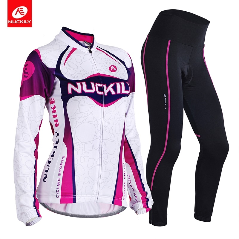 NUCKILY Women Bicycle Jersey Set Long Sleeve Cycling Clothing Summer Bike Wear Foam Pad Road Bike Tights GH001GM001